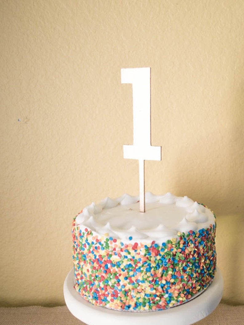 Number One Birthday Cake Topper Wood