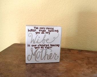 Mother's Day Gift Wood Block Shelf Sitter