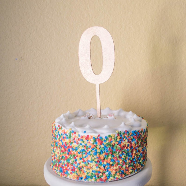 Number Zero Birthday Cake Topper Wood 0