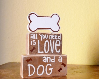 Dog Love Wood Block Shelf Sitter