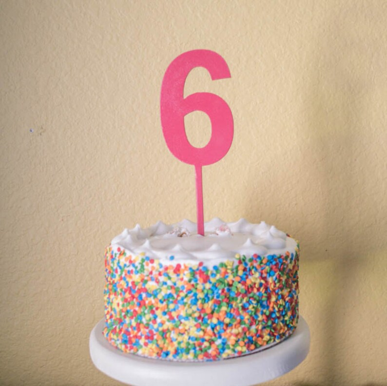 Number Six Birthday Cake Topper Wood 6