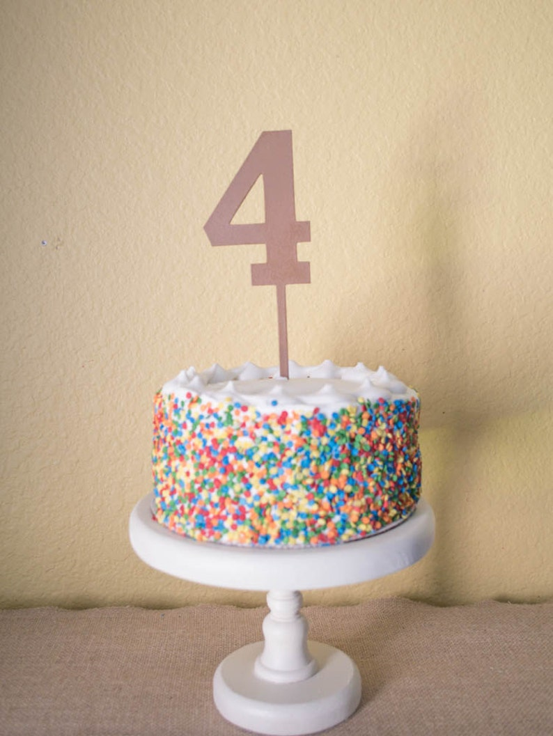 Number Four Birthday Cake Topper Wood 4
