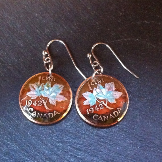 1942 Birthday Gift Canadian Maple Leaf Penny Earrings