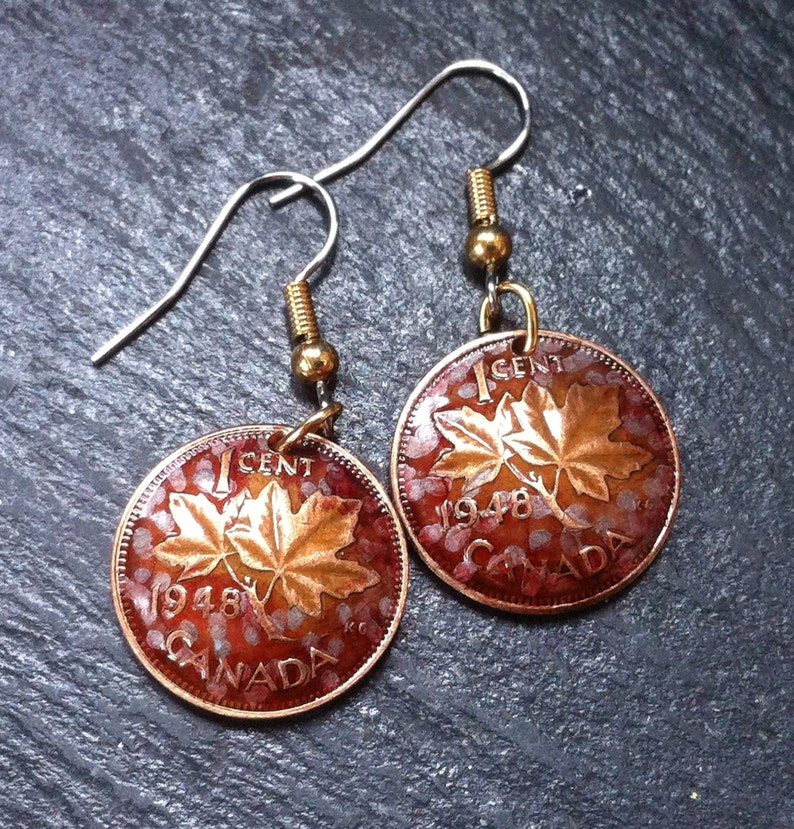 1948 Canadian Maple Leaf Penny Earrings from DISCONTINUED COPPER PENNIES  Lucky Pennies