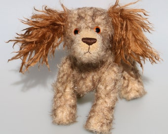 Jessie is a friendly and appealingly scruffy, artist teddy dog made in beautiful German mohair by Barbara Ann Bears