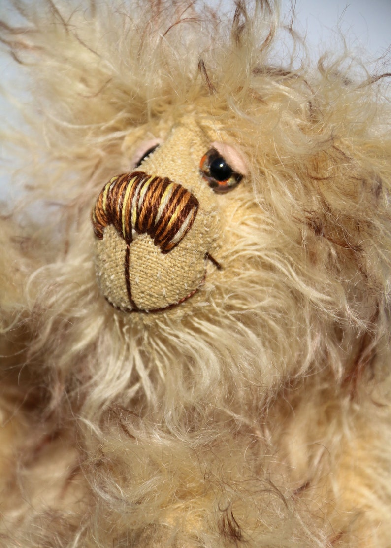 Dinsdale is a very scruffy, cute and quite little one of a kind artist bear  in wonderfully shaggy tipped mohair by Barbara-Ann Bears