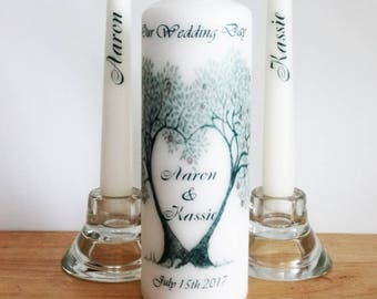 Unity Candle set - Custom Wedding Unity Candle - Ceremony candles - personalised Wedding candle set - Love tree - Bride and groom gift