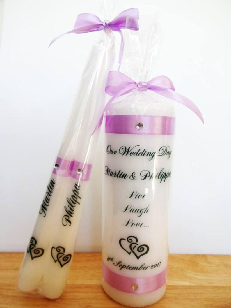 Unity Ceremony Custom Unity Candle Keepsake Gift Wedding Unity Candle Wedding Candle Set Anniversary Gift Lilac Unity Candle