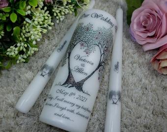 Unity Candle set - Custom Wedding Unity Candle - Ceremony candles - personalised Wedding candle set - Love tree - Bride and groom gift