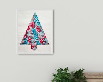 Sinewy Holiday Tree- colorful acrylic painting on 14x17 inch paper