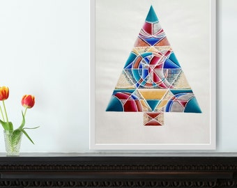 Art Deco Holiday Tree- colorful acrylic painting on 14x17 inch paper