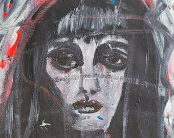 Dark Lady- Original Hand painted portrait Design, colorful acrylic painting on 14x11 inch paper