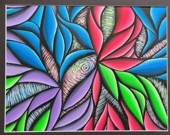 Neon Elements- Original Hand painted Abstract Sinewy Design, colorful acrylic painting on 14x17 inch paper