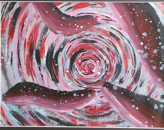 Red Vortex Original Hand painted acrylic design, colorful acrylic painting on 14x17 inch paper