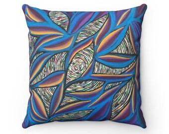Birds of Paradise Faux Suede Square Pillow