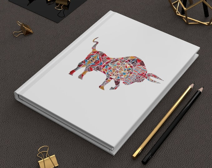 Colorful Red Ox- Lantern Design - Hardcover Journal Matte