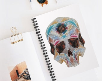 Art Deco Skull Spiral Notebook - Ruled Line