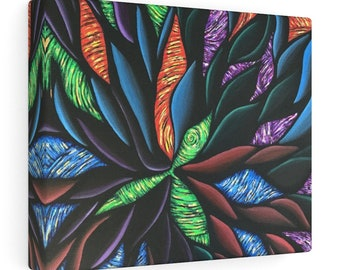 E2 Canvas Gallery Wrapped Canvas Print Colorful Abstract