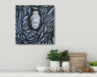 Buddha Hand Painted Original Abstract Impressionist Black and White Painting