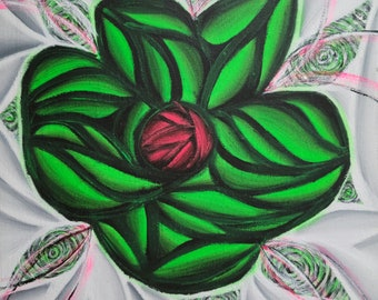 Original Hand Painted Colorful Green Flower Pop Art Acrylic Painting 12x12 Inch Canvas Neon Green Black White