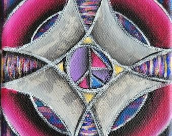 Colorful Jewel Toned Art Deco Design Original Mini Painting on 4x4 Inch Canvas Geometric kaleidoscope