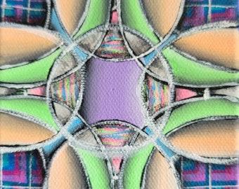 Colorful Florescent Neon Art Deco Design Original Mini Painting on 4x4 Inch Canvas Geometric kaleidoscope