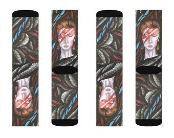 David Bowie Ziggy Stardust Sublimation Socks