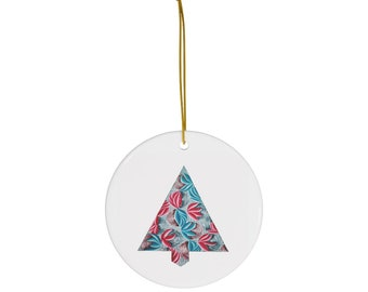 Sinewy and Grid Holiday Tree Round Ceramic Ornaments