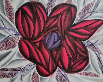 Original Hand Painted Colorful Pink Flower Pop Art Acrylic Painting 12x12 Inch Canvas Neon Hot Pink Black White