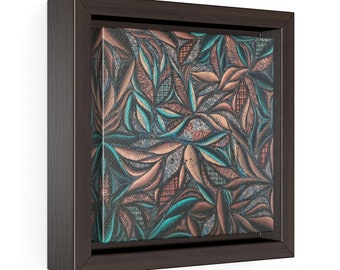 Patina Swirl Square Framed Premium Gallery Wrap Canvas