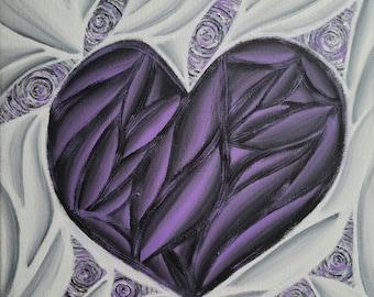 Original Hand Painted Colorful Purple Heart Pop Art Acrylic Painting 12x12 Inch Canvas Neon Purple Black White