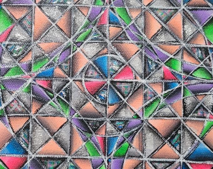 Colorful Pastel Art Deco Design Original Mini Painting on 6x6 Inch Canvas Geometric kaleidoscope
