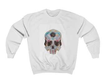 Art Deco Skull Unisex Heavy Blend Crewneck Sweatshirt