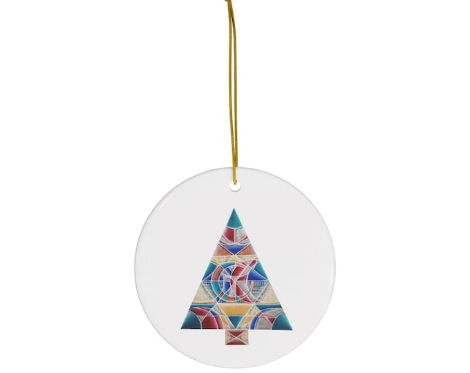 Art Deco Tree Round Ceramic Ornaments