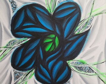 Original Hand Painted Colorful Blue Flower Pop Art Acrylic Painting 12x12 Inch Canvas Neon Blue Black White