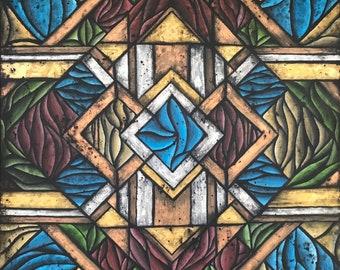 Sinewy Deco Art Deco Geometric Design Original Painting 24x24 Inch Red Blue Silver Gold Copper Bronze