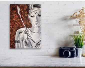 Black and White Smoking Art Deco Woman Original Painting