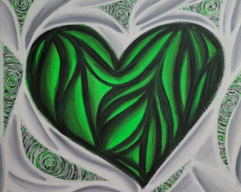 Original Hand Painted Colorful Green Heart Pop Art Acrylic Painting 12x12 Inch Canvas Neon Green Black White