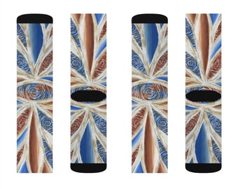 Rust and Blue Sublimation Socks