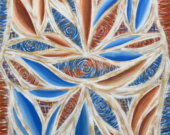 Blue and Rust  11x14 Acrylic Painting on heavy paper Abstract design