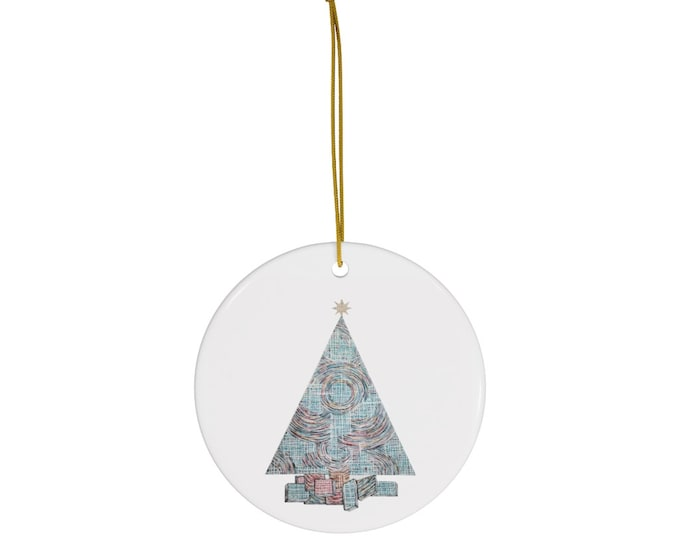 Grid and Swirl Holiday Tree Design Round Ceramic Ornaments