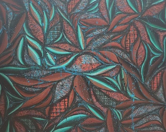 Patina Swirl Textured Metal Print