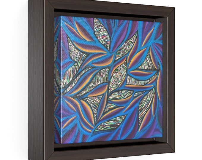 Birds of Paradise Square Framed Premium Gallery Wrap Canvas