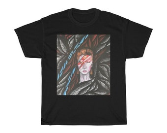 David Bowie Ziggy Stardust Unisex Heavy Cotton Tee