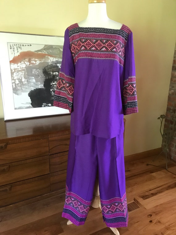 Alfred Shaheen wide leg pants and tunic top set. S