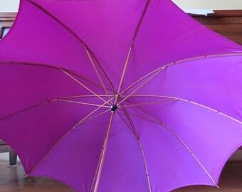 Vintage UMBRELLA Purple Fuschia Nylon with  Metal gold Tone Brass Handle & Tip