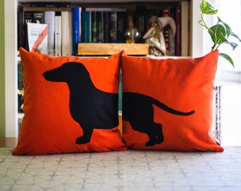 Sausage dog cushion covers, personalized pillows, tangerine and black, dog pillows, decorative pillows, sofa pillows, valentine's day