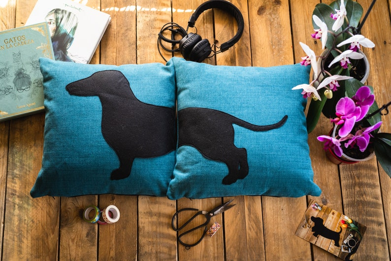 Personalized dachshund cushion covers beige and dark brown image 0