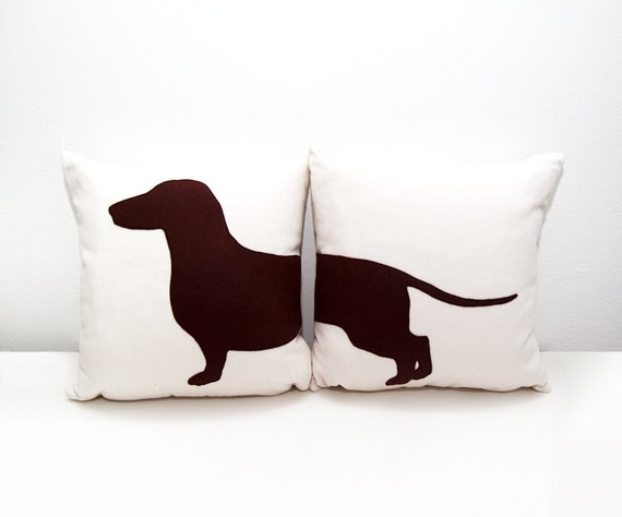 Cuscino bassotto, federa con bassotto, cuscino con cane, ritratto bassotto