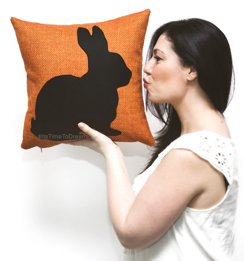 Personalized rabbit cushion cover tangerine and black animal image 0